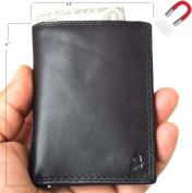 Men's Genuine Leather mini Wallet Vintage black Magnetic soft Skin Coin Money Pocket cards slots Retro Style Luxury black DavisCase