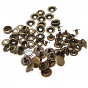 50 Set Iron Snap Fastener Button Silver Tone For DIY Sewing 15mm Bronze