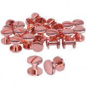 20pcs Rose Red Solid Brass Studs Screwback Round Head Screw Post Fastener Nail Rivet Leather Belt Arc Button Repair DIY