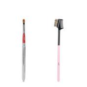 MSQ Eyebrow Brush and Lip Brush Synthetic Hair Lash & Brow Brush Wooden Handle Make Up Brush Set Cosmetics Tools