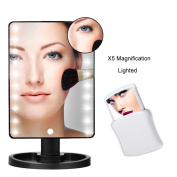 LED Makeup Mirror, Battery Operated, Lighted with Portable 10x Magnifying Mirrors (Black) and FREE Pop-Up Cosmetic Mirror with LED Light