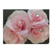 2 x Bright Colour SMALL Pale Pink Flower Hair Grip Clip Diamante Fascinator Bridesmaids Festival Flower Prom Destination wedding