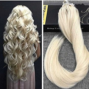 Ugeat Unprocessed Bleach Blonde 613# Remy Micro Ring Extensions 50g 1g/s Silky Straight Human Brazilian Hair Extension 50cm