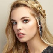 QueenMee Feather Hair Clips Feather Hair Accessories Boho Hair Accessories Glitter Hair Clips Crystal Hair Slides Diamante Hair Grips Rhinestone Hair Pins Festival Hair Clips