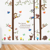 Cartoon Forest Giant Brown Tree Animals Owl Bird Fox Monkey Wall Stickers Wall Decal Vinyl Removable Art Wall Decals for Girls and Boys Nursery Room Children's Bedroom