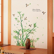 DNVEN (120cm w x 110cm h) Chinese Painting Birds Bamboo Removable PVC Wall Decals Stickers Decor Girls Rooms Bedroom Playrooms