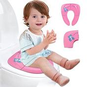 Lightweight Folding Travel Potty Seat [Upgrade Version]   PREMIUM QUALITY ERGONOMIC DESIGN   Toddlers Potty Seat Toilet Training for Baby Boys Girls - M & H