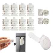 Babbio Magnetic Safety Locks – 8 pack + Free QuickFit Tool to Child Proof any Cabinet, Drawer or Cupboard in just 60 seconds – no drill, tools or screws just peel and stick the lock to keep baby safe