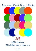 Craft UK Limited 160gsm Blank Card Cardstock 20 Assorted Colours - per pack of 100