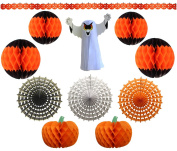 11-Piece Deluxe Halloween Honeycomb Tissue Paper Decoration Kit