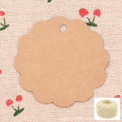 Lwestine 300PCS Round Flower Kraft Paper Gift Tags Wedding Party Favours, With 60m Natural Jute Twine