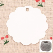 Lwestine 300PCS Kraft Paper Price Tags, Round Flower Kraft Paper Gift Tags(White) Wedding Party Favours, With 60m Natural Jute