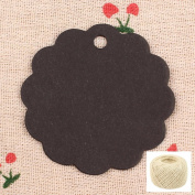 Lwestine 300PCS Kraft Paper Gift Craft Tags Black Round Flower Shape, Price Tags Labels with Free 50m Natural Jute Twine