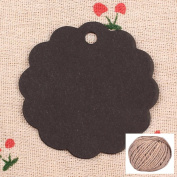 Lwestine 300PCS Kraft Black Paper Gift Craft Tags, Price Tags Labels with Free 60m Natural Jute Twine, Round Flower Card
