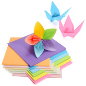 Hompie Origami Paper 15cm Square Size with 50 Vivid Colours Double Side 200 Sheets Suitable for the Arts and Crafts Projects, Easy Fold Paper for Kid's Art