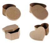 Paper Mache Box (4 Piece Bundle Set) - Heart, Round, Oval, Hexagon