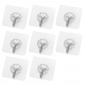 8pcs Reusable Removable Transparent Adhesive Hooks Seamless Nail Free Sticky Hook Holder Organiser for Bathroom Kitchen Wall Door Ceiling
