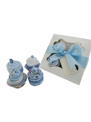 Baby Boy New Born Baby Shower Gift 'Cupcake Box' with Clothing Sock Cupcakes