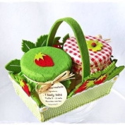 French Strawberry Baby Grow Gift Set - Handcrafted by The Gift Box - Unisex and perfect for. Single baby or Twins