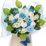 Flowers new baby gift great alternative to sending flowers baby clothing bouquet, luxury baby bouquets in blue for a boy with silk flowers and quality baby clothing size 0-6 months, practical baby gift beautifully handmade to resemble a bouquet of flowers