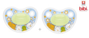 """BIBI SWISS """"HAPPINESS"""" DAY/NIGHT - 2x Pacifiers Soothers Dummnies Anatomical Silicone/ BLAU"""