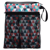 Bag for dirty clean nappies Wet/Dry Bag Cosmetic Toiletry Organiser Cosmetic Bag Portable Travel Storage Triangles [063]