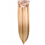 HAIR2HEART Clip In Hair Extensions 130g weight, 8 Straight, 1 Black