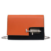 Women's PU Leather Personality Lock Hit The Colour Single Shoulder Crossbody Bag.