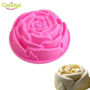 Delidge 6-Cavity Rose Shape Silicone Mould for Homemade Soap, Cake, Cupcake, Bread, Muffin, Pudding, Jello, and More(6-Cavity Cake Mould,1 Cake Pan)