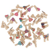 MonkeyJack 50 Pieces Mini Heart-shaped Wooden Clothespin Craft Clips for Decoration Supplies