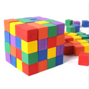 Moolon Wooden Colour Cubes Wood Square Blocks for Crafts and DIY Projects 100 Pcs