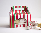 Christmas Cookie Boxes - (4) Red Green Stripe Gable Cookie Boxes w/Handle, Gift Box Treat Box