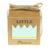 """vLoveLife 50pcs Turquoise Blue LITTLE PRINCESS Favour Gift Boxes + 50pcs Free Natural Jute Twine Cute Kraft Paper Gift Candy Box Baby Shower Birthday Party Favour Boxes - 5.1cm x 5.1cm x 2"""""""