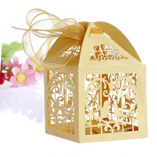 OHTOP 50 PCS Love Bird Cut Candy Gift Boxes With Ribbon Wedding Party Favour
