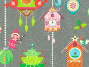 Christmas Elves Elf Ornaments Clocks Gift Wrapping Paper Roll - 4.6m