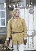 Hayfield Ladies Coat Knitting Pattern 7798 Aran