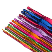 Luxbon 14 Sizes Multi-coloured Aluminium 2mm-10mm Handle Crochet Hook Knitting Knit Needle Weave Yarn Set