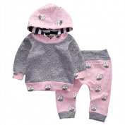 For 3M-18M, UMFun Baby Girl Clothes Set Striped Cartoon Hooded Tops+Pants Outfit Clothes