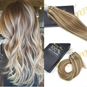 Sunny 36cm Micro Ring Hair Extensions Human Hair Light Brown Highlight Blonde Micro Rings Beads Hair Extensions Real Human Hair 1g/1s 50g