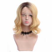 Yuehong Cosplay Blonde Wig Dark Roots Natural Hairline Synthetic Wig Heat Resistant Sexy short Wavy Wig
