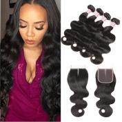 Pizazz Hair Brazilian Virgin Hair 3 Bundles with Closure Unprocessed 100% Human Hair Bundles with Middle Part Lace Closure Mink Brazilian Body Wave Bundles