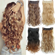 AisiBeauty Curly Mixed Colour Long Wavy Hair Wigs Synthetic Clips in Hair Extensions Heat Resistant Fibre Hairpieces for Women 3/4 Full Head 5 Clips one piece
