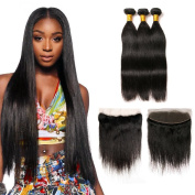 100% Unprocessed Virgin Brazilian Straight Hair 3 Bundles with 13x4 Ear to Ear Free Part Full Lace Frontal with Baby Hair Bleached Knots for Black Women Natural Colour 18 20 22+16 Frontal