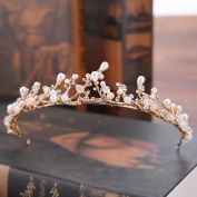 Aukmla Tiara Crown for Wedding Baroque Swan Crown Queen Golden Hair Accessories for Proms Pageants Princess Parties Birthday