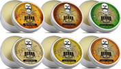 Moustache Wax Ultimate Giftset Collection 6 Tins - Cedarwood, Whiskey on the Rocks, Sweet Orange, Eucalyptus, Lemongrass and Original Lo-scent. for styling twists,points & curls - The Beard and The Wonderful