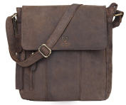 100% Pure Genuine Real Vintage Hunter Leather Handmade Mens Leather Everyday Crossover Shoulder Work iPad Messenger Bag