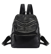 CHENGYANG Women's Leisure Soft Leather Backpack School Bag Outdoor Trip Rucksack