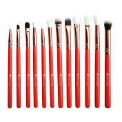 Start Makers 12 Pieces Cosmetic Make Up Brushes, Exquisite and Perfect detail Eye/face Makeup Essential Eye Brushes Set with Travel Pouch