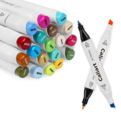 Caliart Dual Tip Art Markers 40 Colours Sketch Twin Marker Pens Highlighters with Black Carrying Case for Adult Colouring Books Blending Shading Drawing Painting and Underlining