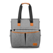 Nappy Changing Nappy Bag Multi-Function- Totes Unisex Bags with Stroller Straps Free Changing Pad Mummy Grey